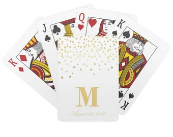 Personalized Wedding Playing Cards, Gold Custom Wedding Deck of Cards, Gold Wedding Favor