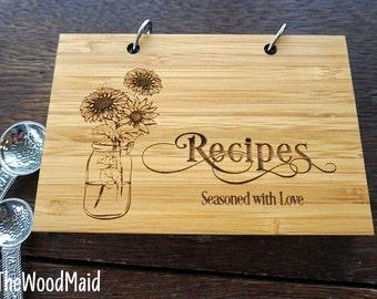 Sunflower Recipe Book Personalized Teacher Appreciation Present Daycare Babysitter Nanny Housewarming Hostess  Gift