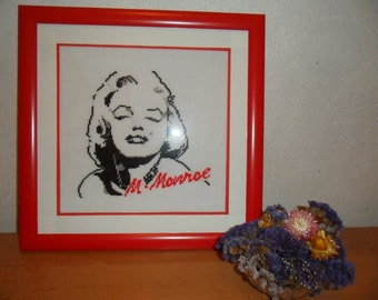 "Embroidered Picture ""Marilyn Monroe"" Embroidered Cross  Embroidery Wall Art"