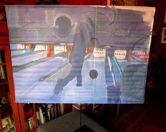 Flat Screen Covers/ Bowling in DC/ Original Art for flat screen/ Dust cover Home decor by Marc Gounard of Sausalito, CA