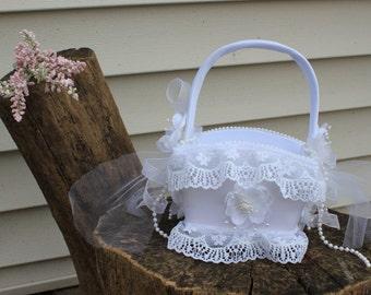 Petite White Satin Basket