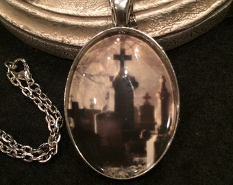 Eerie Graveyard Cemetary Tombstones Bronze or Silver Pendant Necklace Gothic Vampire Dracula Wiccan Celtic