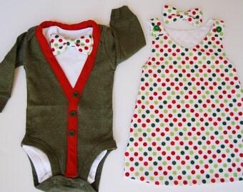 Christmas Boy and Girl Twin Outfits