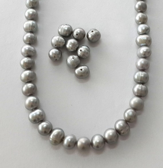 Grey Pearl Beads: 7-8mm Grey Pearl Beads Semi Baroque Pearl Silver Pearl