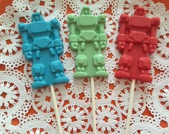 ROBOT TRANSFORMER Chocolate Lollipop - ROBOT Birthday/Space Party/Transformer Party