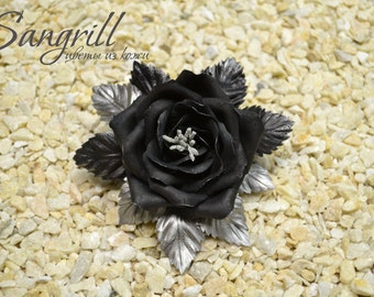 Black rose brooch made of real leather