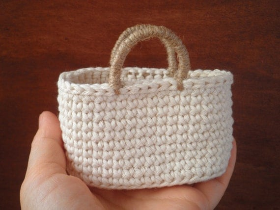 Crochet Small Bag : FREE SHIPPING, Small Tote Bag, Crochet Bag, Mini Tote, Natural Colors ...