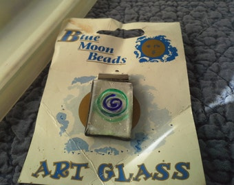 Blue Moon Glass Pendant and etched polka dot beads