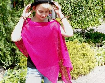 Magenta Pink Bridesmaid Knit Cape, Summer Poncho, Knit Wrap, Summer Shawl, Magenta Pink Wrap, Knitted Cover Up, Bolero Shrug, Pink Capelet