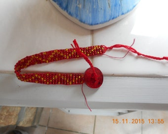 Rocaille Beads Bracelet red and gold, ideal for Christmas