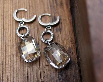 Crystal Earrings, Sterling Silver Earrings, Fine Silver, Swarovski Crystal Earrings, Modern Earrings, Simple Earrings, Dangle Earrings