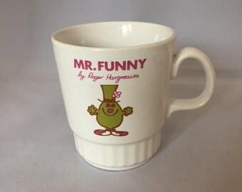 Vintage Retro 1970s 70s Kiln Craft Mr Funny Mr Men childrens kids mug cup