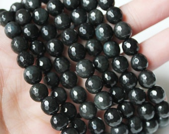 Black Obsidian 8mm Faceted Round - A Quality Full Strand Beading Supply