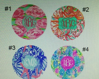 Lilly Pulitzer mousepad monogrammed blue shells roses Lilly Pulitzer inspired personalized mousepad