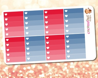 Red & Blue Ombre Heart Checklist Planner Stickers (Erin Condren Life Planner Monthly Colors)