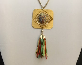 Vintage Japanese tassel necklace, tassel necklace, gold tassel necklace, oriental tassel necklace
