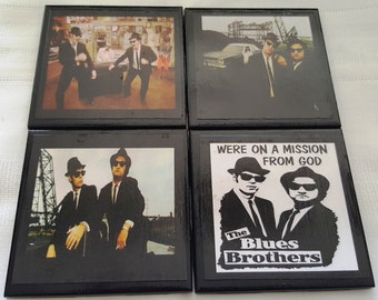 Blues Brothers Ceramic Tile Drink Coasters / Set of 4 / Blues Brothers Coasters