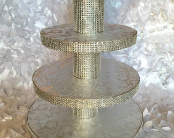 Cupcake Stand 4 Tier Tower Silver or Gold Bling Rhinestone for Wedding or Birthday (Disassembled) DIY
