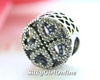 Authentic Pandora Sterling Silver Petals of Love CZ Bead 791808CZ