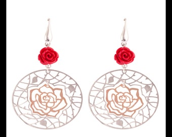 Sterling Silver 2 Tone Rose Drop Earrings, Rose Gold Plated, Filigree Design, Two Tone