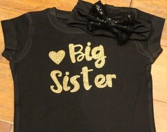 Big Sister Shirt, Big Sister Glitter Shirt, Big Sister, Sibling Shirt, Big Sister Black Shirt, Big Sister Gold Glittler Shirt, Big Sister