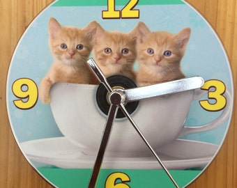 Three Ginger Kittens in a Cup CD Clock (Can be Personalised)
