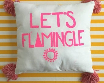 Let's Flamingle! Throw pillow with tassels
