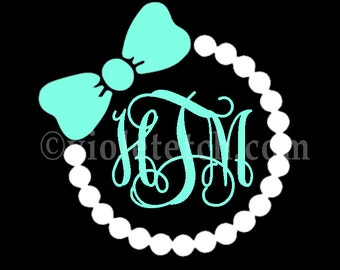 Pearls Bow and Vine Monogram Decal-Vine Monogram Decal-Yeti Cup Decal-Laptop Decal-Car Window Decal