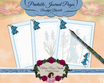 Printable Journal Pages~ Beautiful Bluebell~ Letter Size Journal Page including 3 variations of the design~ DIGITAL DOWNLOAD PRINTABLE