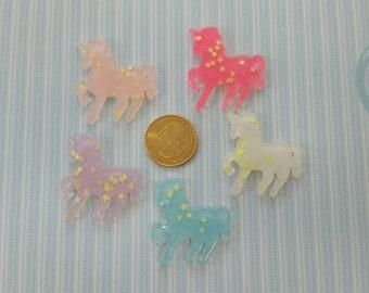 5 piece set of 35x37mm kawaii resin Unicorns decoden scrapbooking