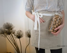 Softened linen half apron. Cafe apron. Utility apron. Apron for women. Waist apron. Linen short apron. Kitchen apron. Gray linen half apron