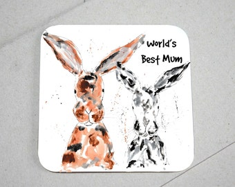 Mum coaster, wooden coaster, rabbit coaster, rabbit lover, table coaster, drink coaster, tile coaster, rabbit, housewarming gift, mum gift