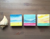 Set of 3 abstract landscape oil paintings, each 4x4 inches