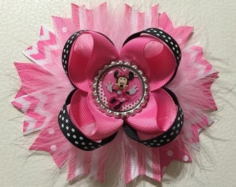 Minnie Mouse Stacked Hair Bow , Disney Minnie Mouse Hair Bow , Minnie Mouse Boutique Hair Bow , Minnie Mouse Hair Clip, Minnie Mouse Bows