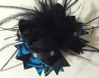 Girl Over The Top Hair Bow, Girls Hair bows, Turquoise Animal Print /Black Over The Top Bow, Baby Headband ,Baby Over The Top