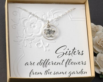 Sisters necklace, sterling silver, Sisters are different flowers from the same garden
