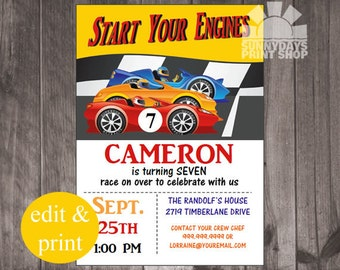 Race Car Boy Birthday Invitation, Racing, Any Age Birthday Invitation INSTANT DOWNLOAD DIY