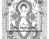 Coloring Book Page Goddess Art, Goddess Morrigan, Goddess Print, Coloring Book Page, Pagan Art, Mandala Art Printable Coloring Page Celtic