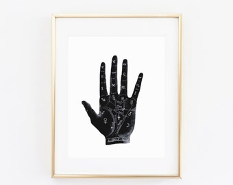 Palmistry print, Palmistry hand, hand print,fortune teller,mystical print,palmistry poster,Chiromancy,palm reading poster, magic, mystic
