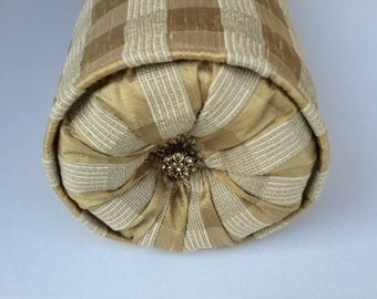Elegant Gold and Cream Plaid Silk Bolster Pillow - Size 21 in x 6 in