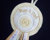 Golden Wedding Anniversary gift, 50th Wedding Anniversary Keepsake, 25th Silver, 40th Ruby, Wedding Memento, Anniversary gift, Rosette Badge
