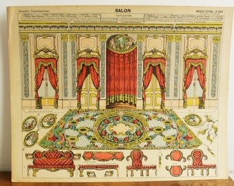 Pellerin Imagerie D'Epinal-No 423 Meubles Accessoires (3 sheets) RARE Paper Model print toy original antique