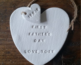 First Father's Day ~ Personalized Father's Day Gift ~ Clay Decor ~ Daddy To Be Gift ~ Clay Gift Tag