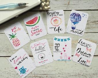 PL 3 x 4 Journal cards watercolor Set1 - 2 x 8 motifs