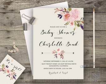 Boho Baby Shower Invite Floral Baby Shower Invitation Printable Bohemian Baby Shower Spring Baby Shower Floral Invites