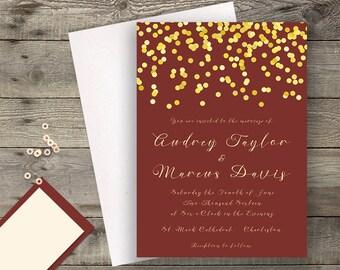 Marsala Maroon Gold Navy Modern Calligraphy Wedding Invitation Suite Glitter Golden Maroon Invite Modern Calligraphy Winter / Fall Wedding
