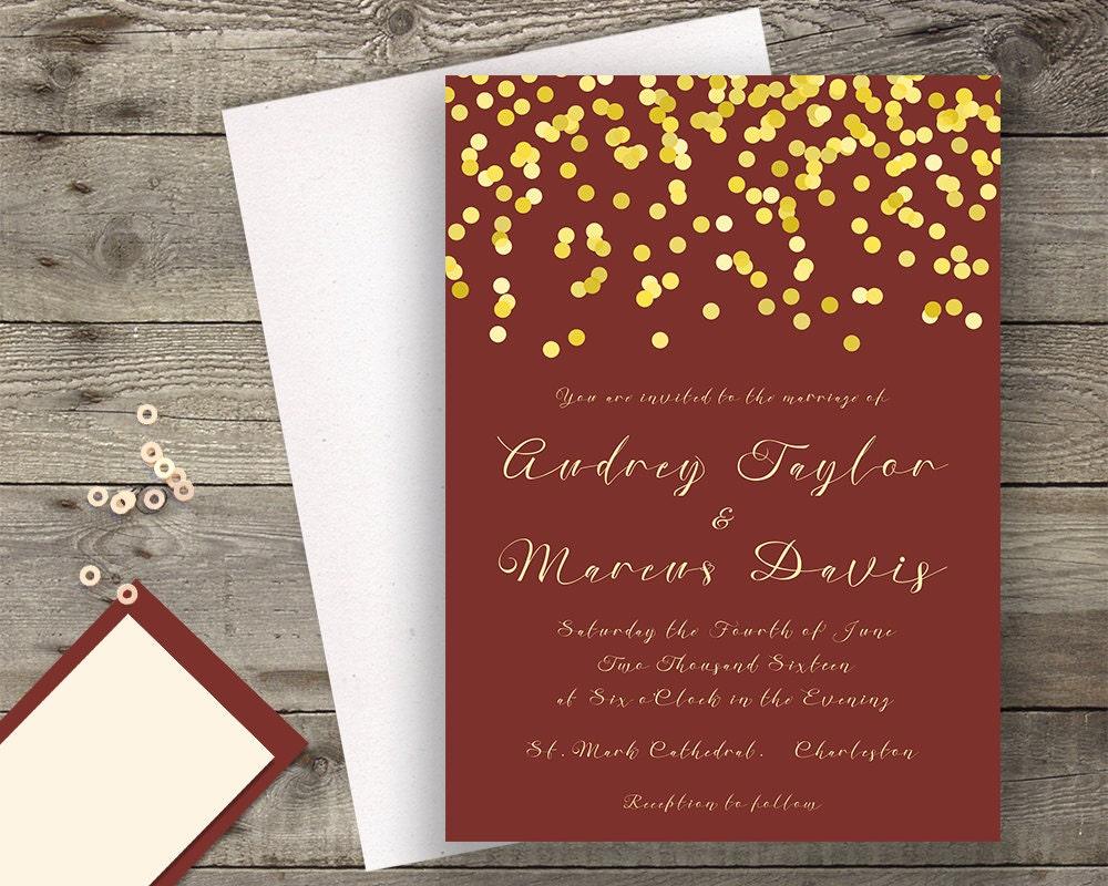 maroon and gold wedding invitations - 28 images - custom burgundy ...