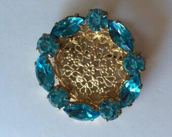 Vintage Blue Rhinestone Round Brooch Pin