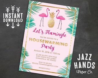 Let's Flamingle Printable Housewarming Invitation Template | Flamingo Invitation | New Home | Flamingos | Pineapple | Palms | Invites