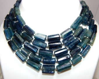 Kyanite Faceted Tube Beads 100% Natural Gemstone Size 9.4x6.5 to 16.9x11 mm Approx  Code - 0K1